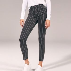 Abercrombie gray pinstripe high rise skinny jeans